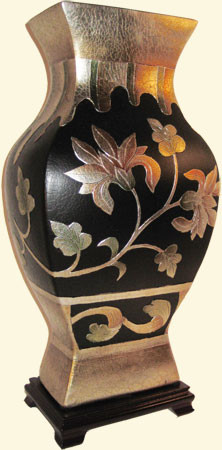 Black, silver leaf, carved and hand painted art deco floral 16 inch  high Chinese porcelain.