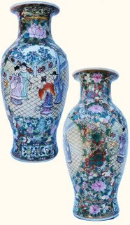 14 inch high  Chinese porcelain fish tail vase is hand painted in Rose Medallion. Import direct pricing!