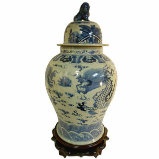 """Tall (28"""") Blue and White Porcelain Dragon Lid Jar"""