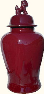 15 inch  high Chinese porcelain jar with lion lid handle jar. Import direct pricing! Oxblood red glaze.