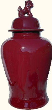 Red Glaze Jar In Chinese Porcelain With Lion Handles