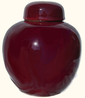 8 inch high  Chinese porcelain ginger jar has an oxblood red glaze. Import direct pricing!