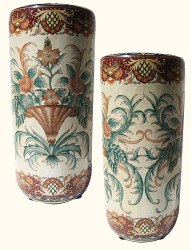 18 inch high Hand painted Florentine Chinese porcelain umbrella stand. Import direct pricing!