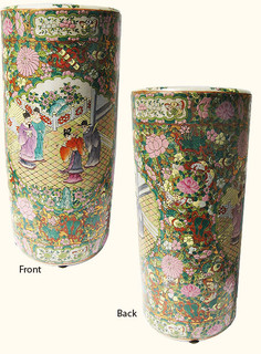 18 inch high  Hand painted Rose medallion Chinese porcelain umbrella stand . Import direct pricing!