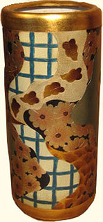 18 inch high and 8 inch diameter Imari crazy flowers umbrella stand. Hand painted porcelain.