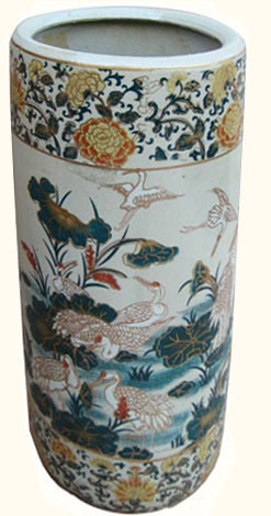 Chinese Umbrella Stand With Painted Cranes Amp Lilies On