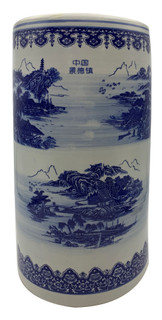 "18"" high Rustic Chinese Porcelain Umbrella Stand"