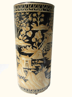 Hand painted 18 inch high Chinese porcelain umbrella stand in landscape design