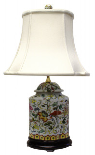 "24"" Chinese Porcelain Table Lamp with Floral Design"
