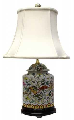 Oriental Table Lamp Porcelain With Floral Design And
