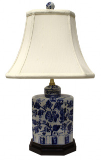 Blue and White Rectangular Porcelain Table Lamp