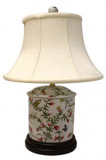 "22""H. Oval Chinese Porcelain Table Lamp with Floral Design"