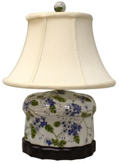 Oriental Compact Fluted Porcelain Table Lamp