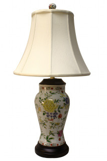Oriental Rose Porcelain Table Lamp