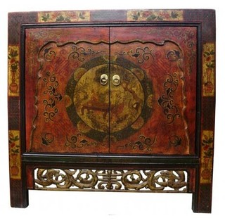 "33""h Tibetan Cabinet Hand Painted and Hard Carved Two Doors with Shelf"