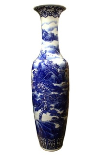 72H Blue and white Temple vase
