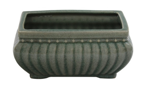"10"" Fluted Celadon Rectangular planter"