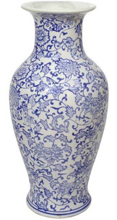 "18""H. Oriental Blue and White Porcelain Vase with Daisy Chain Pattern"