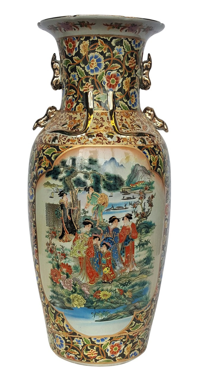 Chinese Vase Is 24 Quot High With Satsuma Design In Porcelain