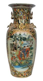 """24"""" Chinese Porcelain Vase in Japanese Satsuma Style"""