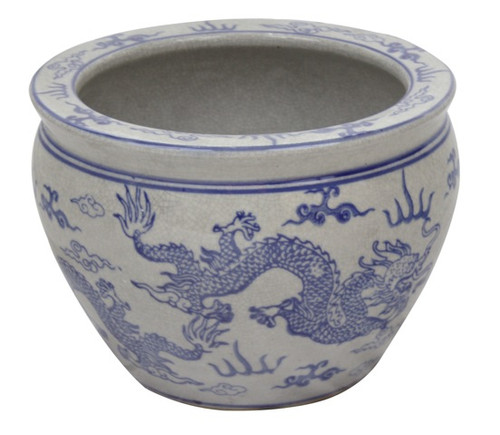 Fish Bowl Planter In Blue And White Glazed Chinese Crackle