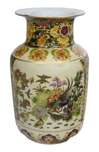 Chinese porcelain vase in Japanese satsuma bird and flower design.