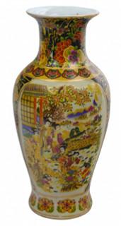 """14""""H Chinese porcelain vase in satsuma palace scene"""
