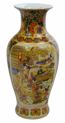 Chinese Vase In Japanese Satsuma Design On Fishtail Body