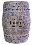 Blue and white porcelain garden stool with daisy chain design