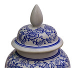 "18"" H Blue and White temple jar with Daisey chain flowers"