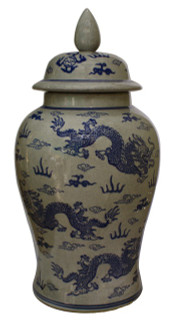 "18"" H Chinese porcelain temple jar in dragon design."