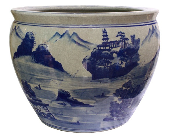 Fishbowl Planter In Chinese Blue And White Landscape 14 W