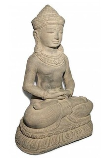"Buddha Statue Lotus 18"" Stone Washed"