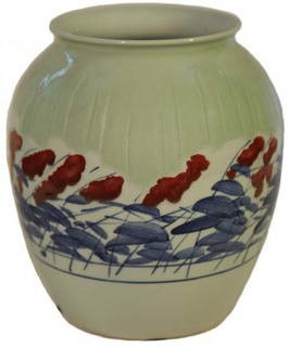 "10""H Chinese Hand Painted Tang Reproduction Porcelain Jar From Jingdezhen"