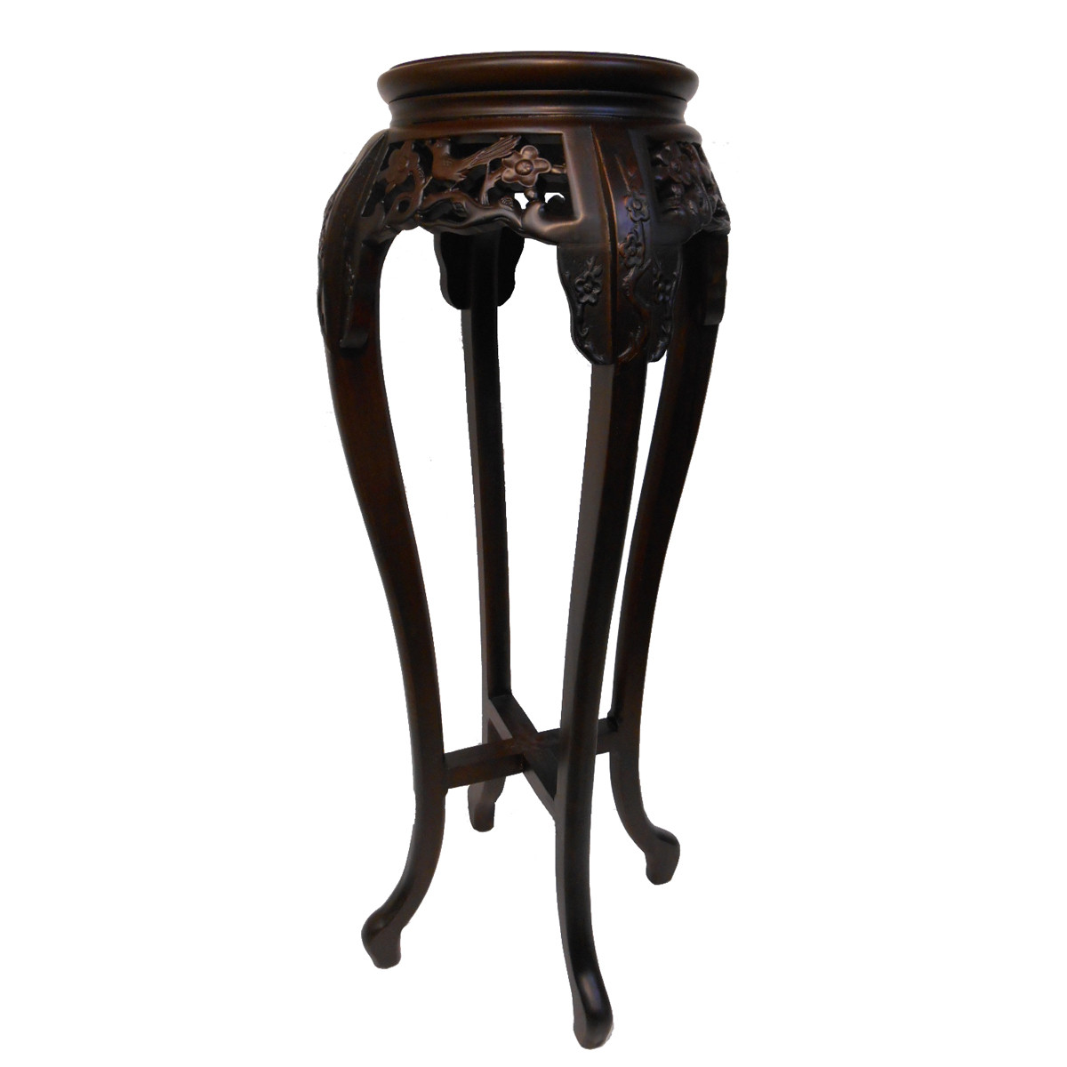 Chinese Plant Stand With Marble Top And Hand Carved