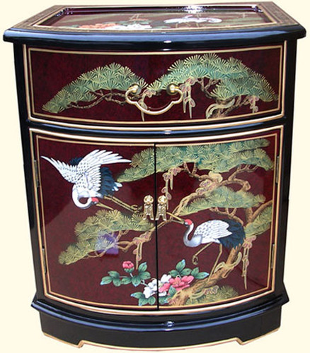 Oriental End Table In Solid Mahogany With Black And Red