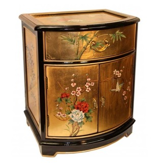 Oriental End Table Painted Bird and Flower