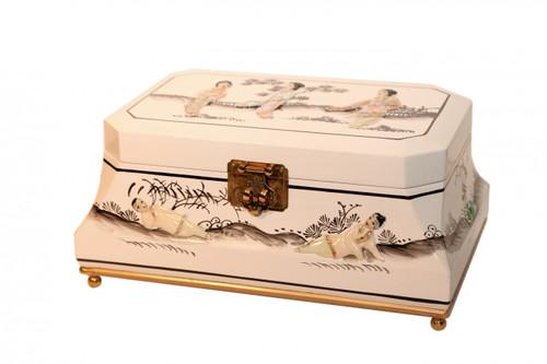 White Lacquer Inlaid Oriental Jewelry Box