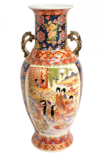 Chinese Vase In Painted Satsuma Design In 24 Quot Height