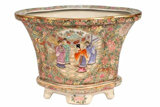 Fluted Chinese Porcelain Flower Pot