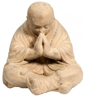 "17.5""h Oriental Praying Stone Monk Statue"