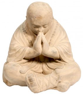 "18.5""h Oriental Praying Stone Monk Statue"