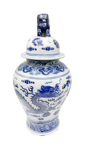 """24""""H Blue and White Chinese Porcelain Temple Jar in Five Rings with Dragon Glaze"""