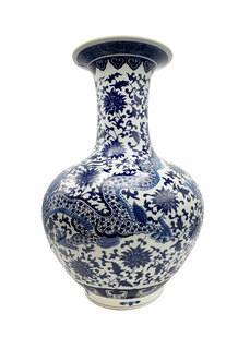 """24""""H. Blue and White Oriental Porcelain Ball Vase with Painted Dragon Pattern"""