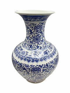 "24""H Blue and White Five Rings Oriental Porcelain Ball Vase"