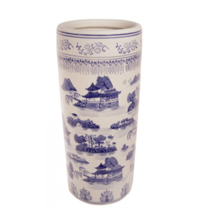"18""H Chinese Porcelain Umbrella Stand in Blue and White"