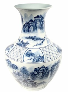 Chinese Blue And White Porcelain Vase With Three Rings And