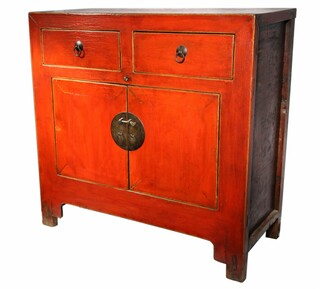 "38"" Antique Chinese Red Cabinet"