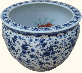 "18"" Cordial Blue and White Fish Bowl Planter"