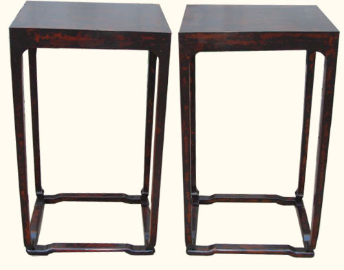 Set of two 18  by 14   by 32 inch tall antique elmwood tables